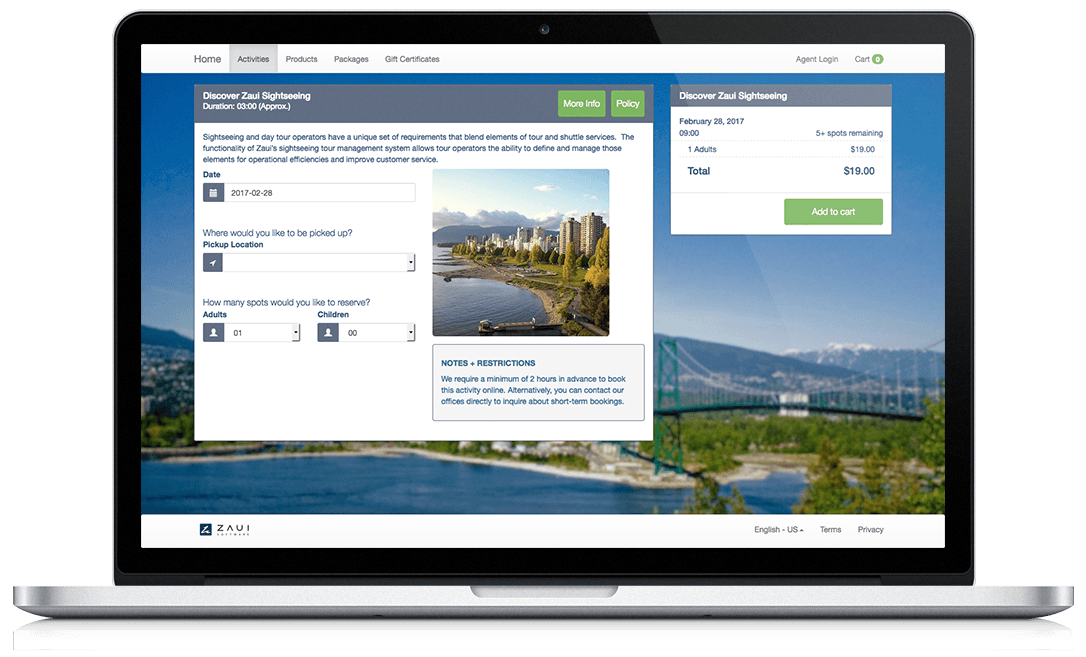 Online booking system demo for sightseeing tours