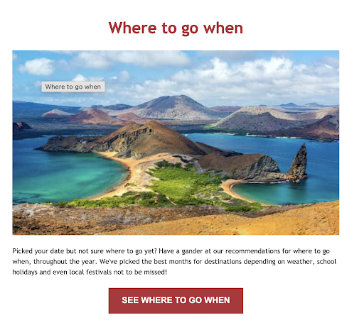 Sample informational email marketing for tour and transport operators