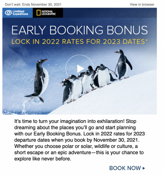 Sample of emails promoting tour offers